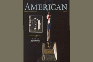 American Magazine cover featuring shovel used by President Eisenhower for the groundbreaking of the original SIS Building.