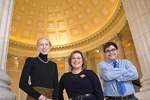 Photo: Genevieve Frye, left, Sarah Dohl, and Philip Zakahi in the Cannon House Office Building Rotunda. All three were students in AU's speechwriting course.