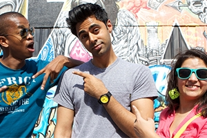 Stand Up Planet host Hasan Minaj (center) and two other comics from the project.