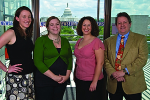 Alumni helping to bring the excitement of the newsroom to the Newseum include, from left, Jessica Hall '00, Anna Frueh '07, media assets coordinator Katie Walker '05, and Jerry Grossman '68.