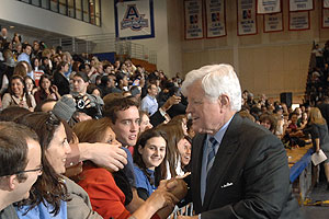 Sen. Ted Kennedy works the AU crowd during his January 2008 endorsement of Barack Obama for president.