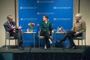 Distinguished Practitioner in Residence Lt. Gen. David Barno (Ret.), Distinguished Scholar in Residence Nora Bensahel, and Distinguished Journalist in Residence David Gregory debated U.S. strategy on terrorism at a SIS Special Forum on February 3.