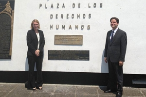 Christina Fetterhoff and Ali Beydoun stand at the Plaza de los Derechos Humanos in Guatemala.