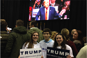 Supporters attend a Donald Trump rally in New Hampshire