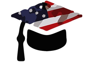 UncertainU graphic of graduation cap with an American flag and 2 questions marks on top