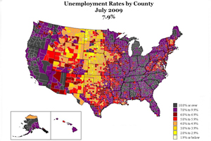 "SOC student LaToya Egwuekwe continues to update ""Geography of a Recession"" as new unemployment data are released each month."
