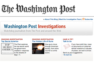 The Washington Post Investigations homepage