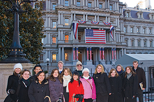 Photo: Washington Semester students and Prof. Christian Maisch in front of the Executive Office Building