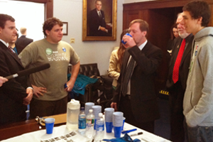 AU's Green Eagles held a tap vs. bottled water taste test at the US Capitol. Taste test volunteers included Tacoma Park Mayor Bruce Williams (in red tie).