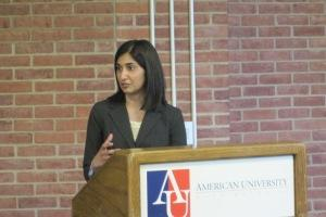 USFP student Inu Barbee presents her research at the US Foreign Policy Capstone Research Conference