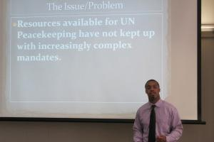 US Foreign Policy student Steven Rocker presents at the US Foreign Policy Capstone Research Conference