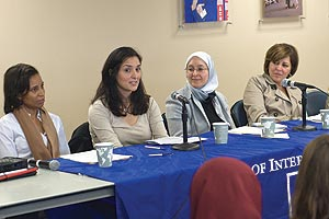 "Photo from left: Kelly Pemberton, Diya Agha, Salma Elkadi Abugideiri, and Alma Jadallah at the SIS event, ""Engaged Conversations"""