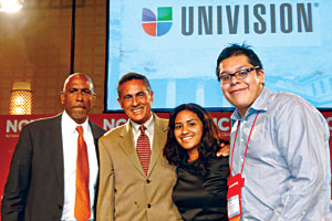 Photo: From left, Pedro Noguera, renowned author and NYU professor of education, Daniel Domenech, executive director, American Association of School Administrators,    Cindy Zavala, and AU student Efrain Ramirez.