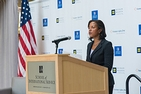 Ambassador Susan Rice standing on a stage in SIS delivering a speech on Human Rights