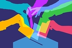 Colorful silhouettes of hands grasping ballots, positioned to place them in a collection box.