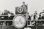 John F. Kennedy giving his famous commencement address at AU in 1963.