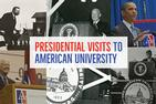 Collage of presidential visits to campus