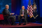 "MSNBC's Chris Matthews interviews President Barack Obama in the Greenberg Theatre for an episode of ""Hardball."""