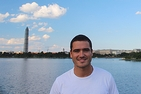 Photo of Javier Pastor Pérez Estrada in front of the Washington waterfront and the Washington Monument