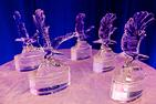 Alumni award winners receive crystal Eagle statues.