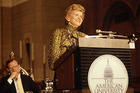 First Lady Betty Ford speaking at American University in 1975.