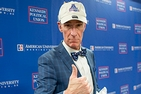 Bill Nye wearing his AU Eagle hat. Credit: AU Photo Collective photographer Anna Moneymaker.