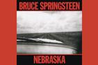 Cover art from Bruce Springsteen's album Nebraska; black and white photo of a car dashboard driving down a lonely road between empty fields