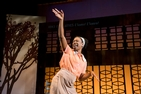 Actress Erika Rose performing on stage in Caleen Jennings' play, Queens Girl in Africa.