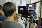 High school students learn filmmaking skills through the Discover the World of Communication program.
