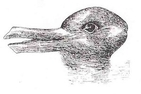 Duck Rabbit optical illusion. Some people see a duck; others see a rabbit.