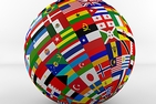 A globe made of flags from various countries around the world.