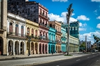 Downtown Havana, Cuba. Buildings with yellow, pink, and blue pastel covers.