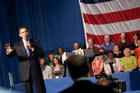 President Obama at a town hall meeting.