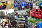 Photo collage featuring AU mascot Clawed Z. Eagle, students dressed in blue for the Bender Blue Out, President Kerwin with students at Celebrate AU, a student rubbing the talon of the Eagle statue, and more.