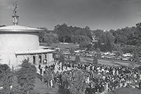 Black and white photo of crowds attending 1965's dedication of the Kay Spiritual Life Center.