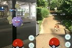 A screen shot of Pokemon Koffing and Spearow on campus at American University.