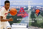 Basketball player holding a basketball. American University and Bucknell Logo