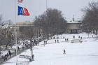 American University's main quad covered in snow.