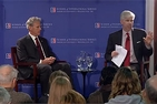 Meet the Press' David Gregory and Israel Ambassador to the U.S. Michael Oren in discussion at the School of International Service's Meet the Press at SIS event.
