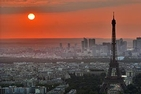 Sunset behind Eiffel Tower in Paris, France
