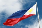Philippine flag waving in the sky