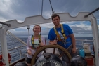 CAS students Devin Kuhn and Jacob Atkins aboard the SSV Robert C. Seamans.