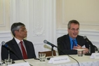 Dean James Goldgeier speaks during the program as the Embassy of India's Deputy Chief of Mission Arun Singh looks on.