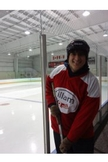 José Ramirez-Rivera, SIS/BA '14, in hockey gear in Canada.
