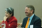 Panelist Jorge Castañeda, former foreign minister of Mexico, shares a laugh with Maria Otero, former undersecretary of state for Civilian Security, Democracy and Human Rights.