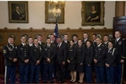 Sam Stowers, SIS/MA '13 (third from left) and the 2013 Commissioning Class with Secretary of Defense Leon Panetta.