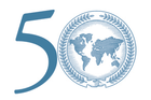 50 with the School of International Service seal (world map with leaves surrounding) in the zero
