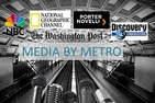 A photo of a metro station with logos overlaid from various media outlets.