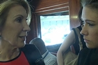 Carly Fiorina talks with student Meghan Puryear