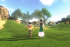 Digital image of two children facing a landscape